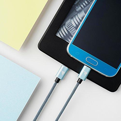 RAMPOW Micro USB Kabel, 2M / 1-Stück 2A Micro USB Schnellladekabel, Micro USB Kabel Nylon Geeignetl für Android Smartphones, Samsung Galaxy, HTC, Huawei, Sony, Nexus, Nokia, Kindle und Mehr - Blau