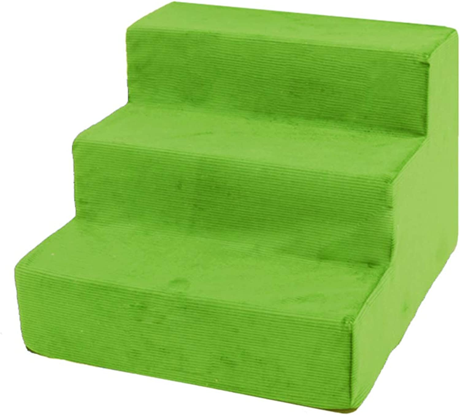 LXLA  Corduroy 3Step Pet Stairs, For Small Dogs And Cats, Supports Up To 6 Lbs, Removable Washable, 40×38×30cm (color   GREEN)