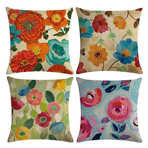 mefound Kissenbezüge-Set, 45 cm x 45 cm, dekoratives Blumenmuster, Baumwolle, Überwurf, Kissenbezug, Sofa, Bett, Stühle, 45,7 x 45,7 cm