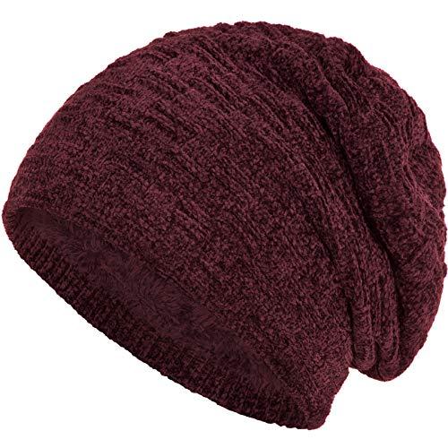 Compagno warm gefütterte Wintermütze Beanie Strickmütze Hat Herren Damen Mütze Haube Einheitsgröße, Farbe:Samt Dunkelrot
