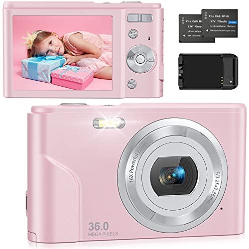 Fotocamera Digitali Compatte 1080P HD Macchina Fotografica, 36 MP 2,4' LCD Schermo, Zoom Digitale 16X,Vlogging Mini Fotocamer Digitale con Caricabatterie,2 Batteria,per Bambin/Principianti