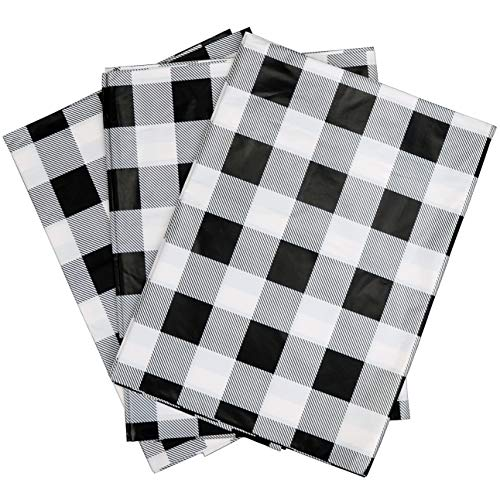Iconikal 54 x 108-inch Plastic Tablecloth Table Cover, White Buffalo Plaid, 3-Pack