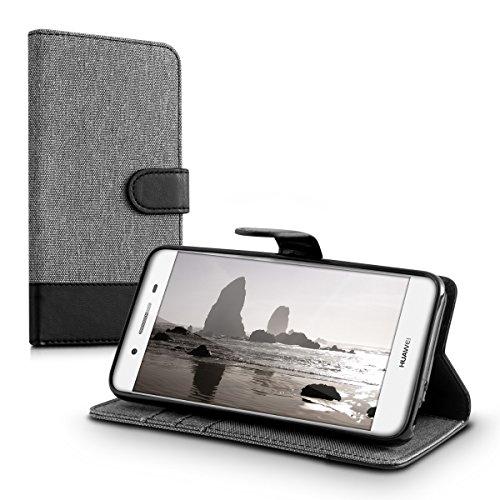 kwmobile Huawei GR3 / P8 Lite SMART Hülle - Kunstleder Wallet Case für Huawei GR3 / P8 Lite SMART mit Kartenfächern und Stand - Grau Schwarz - 5