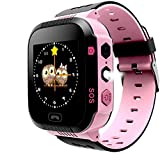 Enfants Smartwatch - GPS/LBS Position Tracker Enfant SOS Aide Montres Appareil Photo Numérique Mobile Téléphone Mobile Montre Cadeau Enfants pour Filles Garçons (Pink)