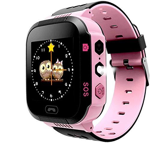 Smartwatch Phone para Niños Niñas, Reloj inteligente Teléfono con Localizador LBS SOS Chat de voz Cámara Despertador Linterna Juego de Cálculo para Regalos Estudiantes Compatible con iOS Android, Rosa