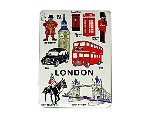 Zakspiegel, compact, compleet Londen – Big Ben/Tower Bridge/Royal bus met twee niveaus, telefooncel, rood/postbox/Beefeater