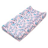 Pink, Floral Changing Pad Cover for Baby Girl - Thick and Absorbent - Soft Cotton - OekoTex Certificate - Made in Europe - Baby Registry Shower Gift - Beautiful Packaging