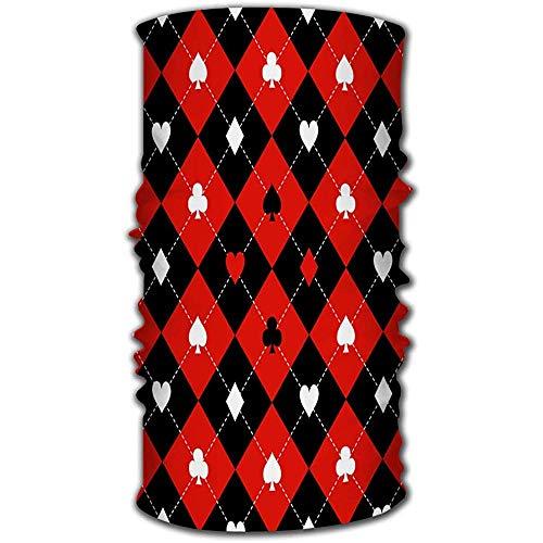 MJDIY 12-in-1 Headwear kostuum met rode diamanten en zwarte onderkant, zweetband, duurzaam, voor wielrennen, hardlopen
