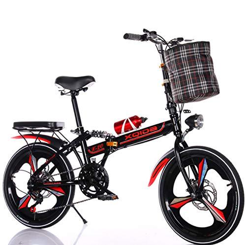 RDMSLKQ klapprad 20 Zoll Aluminium-Faltrad-klappfahrräder Faltfahrrad-Herren-Damen 6 Gang Cityrad Schnellklappsystem
