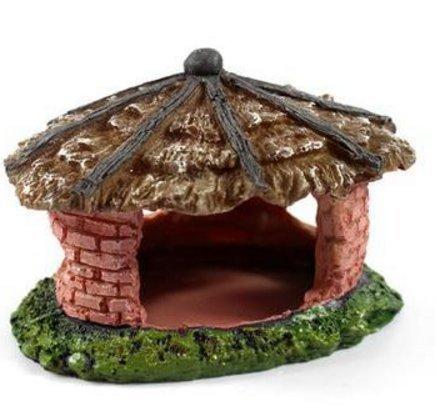 Milkee わらぶき屋根の家 水槽 飾り 隠れ家 遊び 水槽用 オブジェ 小型爬虫類 亀 魚 エビ