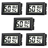 Rojuna 5-pack Mini Thermometer Hygrometer, Small Digital Electronic Temperature Humidity M...