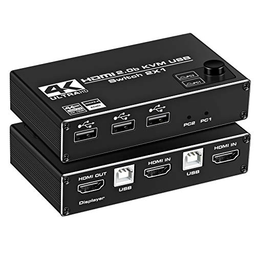 HDMI KVM Switch, NEWCARE 4K@60Hz 2x1 HDMI2.0 Ports + 3X USB KVM Ports, Share 2 Computers to one UHD Monitor, Support Wireless Keyboard and Mouse, USB Disk, Printer, USB Camera (Included 2 USB Cable)