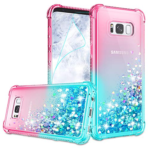 Galaxy S6 Case, Galaxy S6 Cases with HD Screen Protector for Girls Women, Gritup Cute Clear Gradient Glitter Liquid TPU Slim Phone Case for Samsung Galaxy S6 Pink/Teal