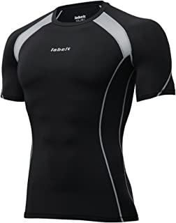 Labeit Men's Cool Dry Short Sleeve Compression Shirt,  Workout Base Layer Running Skin Fit Tee