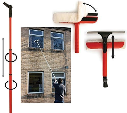GadgetKing Telescopic Window Cleaning Washing Kit Washer Wash Pole Large Cleaner Squeegees