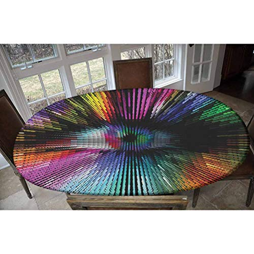 """Elastic Polyester Fitted Table Cover,Abstract and Vibrant Colored Shape with Optical Illusion Effect Psychedelic Inspiration Oblong/Oval Dinner Fitted Table Cloth,Fits Tables up to 48"""" W x 68"""" L"""