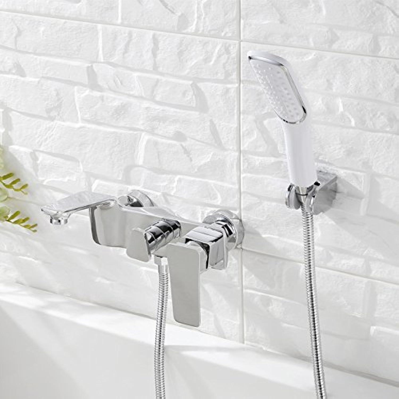 2017 grohandel Luxus Elegantes Design Einzigartige Chrom Schwarz Wei Goldene Wand Bad Wasserhahn mit Handbrause, chrom
