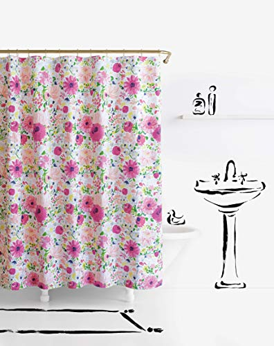 "Kate Spade New York Dahlias Shower Curtain, 72"", White/Pink/Yellow"