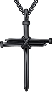 LineAve Men's Stainless Steel Nail Rope Cross Pendant Necklace