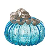 Glitzhome 5.12 Inch Hand Blown Blue Glitter Glass Pumpkin Table Accent for Fall Harvest & Thanksgiving Decorating