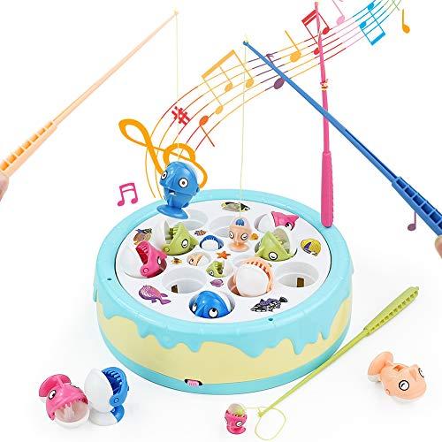 Fajiabao Juego de Pesca - Juegos de Mesa Juguetes de Pescar Música Juguetes Educativos Pascua Regalo para 3 4 5 Niños con 4 Cañas de Pescar