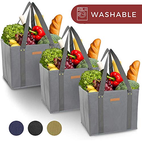 Reusable WASHABLE Grocery Shopping Cart Trolley Bags - set of 3 | Extra Long Handles, Spillover Proof, Eco-Friendly, Large, Durable, Collapsible Tote with Reinforced Sides and Bottoms (Grey, 3) (Shopping Cart Bags As Seen On Tv)