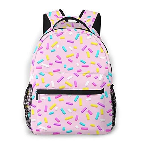 Laptop Rucksack Schulrucksack Lila Bonbon Donut, 14 Zoll Reise Daypack Wasserdicht für Arbeit Business Schule Männer Frauen