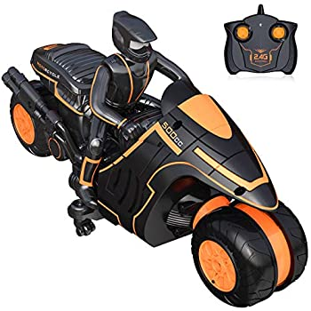 Remote Control Motorcycles Rc Motorcycle 360° Spinning Action Rotating Drift Stunt Motorbike 2WD High Speed Rc Motorbikes 2.4Ghz Radio Control Racing Motorcyle with Riding Figure Toys for Kids Boys