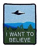 Parche bordado con texto 'I Want to Believe' (9 cm) para planchar o coser, recuerdo retro, para disfraz de expedientes X, póster extraterrestre, platillo volador, barco espacial