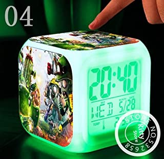 AThiToZone (arrive within 3-5 weeks). Hot PVC Toys Hobbies Plants VS Zombies Cartoon Games Action Figure 7 Colors Change Digital Alarm LED Clock Cartoon Night Colorful Toys for Kids (Style 4)