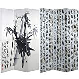 Oriental Furniture 6 ft. Tall Double Sided Bamboo Calligraphy Canvas Room Divider