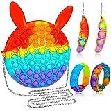 Skisneostype Push Pop Bubble Poppet Fidget Toys Set Bolsa Popet Juguetes Antiestrés Plopper juguetes para personas con TDAH o autismo arcoíris Bolsa de hombro con 2 llaveros