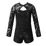 CHICTRY Big Girls' Sequin Dance Biketard Sparkly Lace Kids One Piece Jazz Tap Performance Dancewear Costume #2 Black 7-8