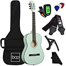 Best Choice Products 38in Beginner All Wood Acoustic Guitar Starter Kit w/Case, Strap, Digital Tuner, Pick, Strings - SoCal Green
