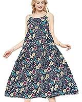 Womens Casual Spaghetti Strap Slip Summer Dresses,Cotton Bohemian Maxi Floral Print Long Beach Swing Dress,5-XL