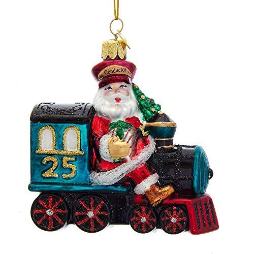 Kurt S. Adler Noble Gems Glass Santa on Train Christmas Ornament NB1494 New