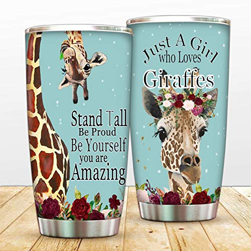Stand Tall Be Amazing 20oz Tumbler Cup With Lip,Just A Girl Who Loves Giraffes Double Wall Vacuum Insulated Travel Mug,Floral Giraffe Home Coffee Cup For Hot And Cold Beverages