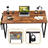 CubiCubi Computer Desk 40' Study Writing Table for Home Office, Industrial Simple Style PC Desk, Black Metal Frame, Rustic