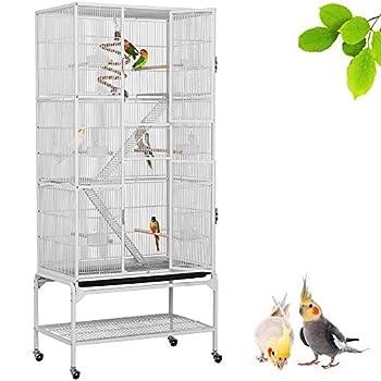 Yaheetech Grande Cage Oiseaux Voliere avec Pied sur Roulette 81 x 46,5 x 175,5 cm Blanc