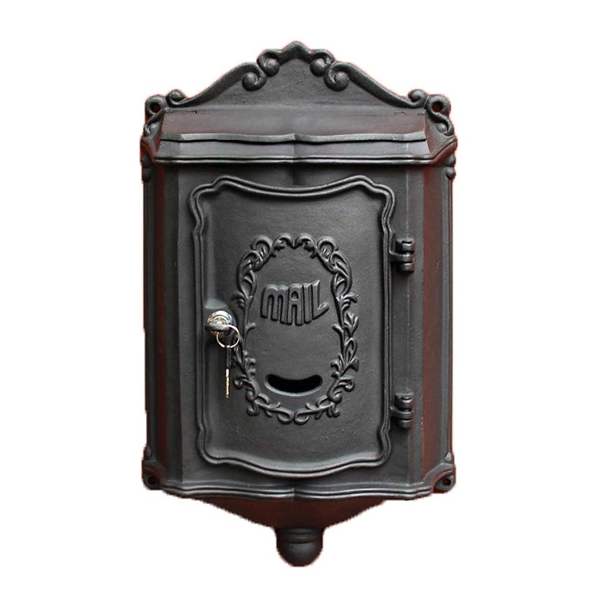 歴史家ご意見優しいメールボックスメールボックスメールボックスは、亜鉛メッキ鋼板は、防水、メールボックスのメールボックスポーチ付きロックメールボックスを壁掛け (Color : Black, Size : 50.5*30.5*10cm)