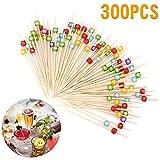 Palillos de cóctel Lifreer 300 piezas (3 paquetes) 12 cm/4.72 in palillos de bambú palillos de dientes palillos de bambú para cóctel, barbacoa, kebabs, cócteles, fiesta, bandeja decorativa