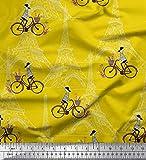 Soimoi Gelb Seide Stoff Mädchen, Fahrrad & Eiffelturm