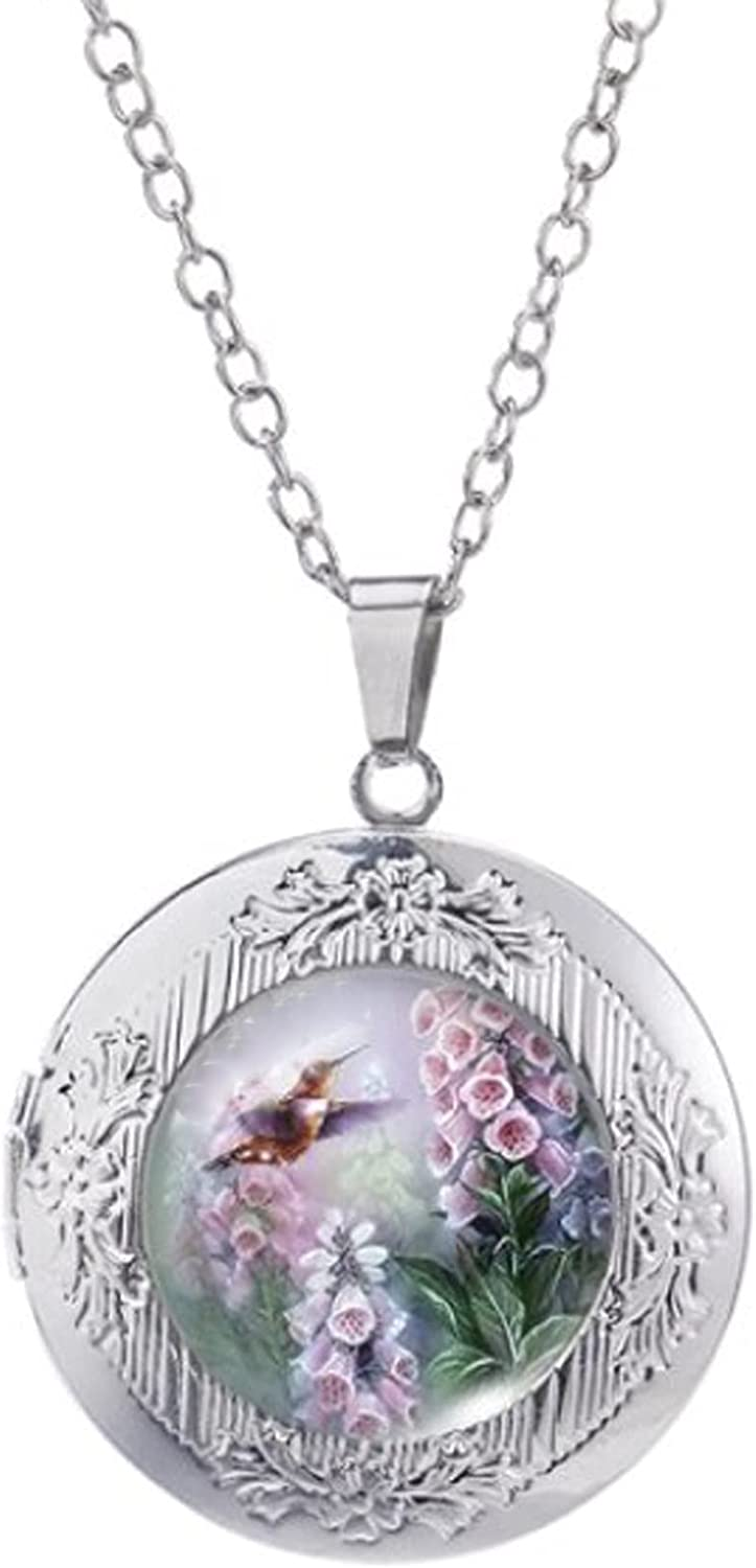 Free Shipping New Locket Necklace Hummingbird Larkspur Super popular specialty store and