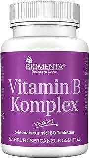 BIOMENTA Vitamina Complejo B | 180 VEGANO vitamin-b-tabletten | Tiamina. Riboflavina. Niacina. vitamina B5. pyridoxin. Biotina. Ácido Fólico & cobalamina (B12 Vitamina)