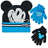 Disney Boys Mickey Mouse Winter Hat and 2 Pair Mitten or Gloves Set (Age 2-7) (Blue/Black Mickey Glove, Age 4-7)