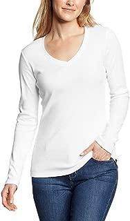 Women's Favorite Long-Sleeve V-Neck T-Shirt, White Regular M Regular