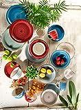 Mäser 929877 Bel Tempo I Frühstück-Service für 6 Personen im Vintage Look, handbemalte Keramik, Geschirr-Set 18 Teile, Steingut, Beige - 7