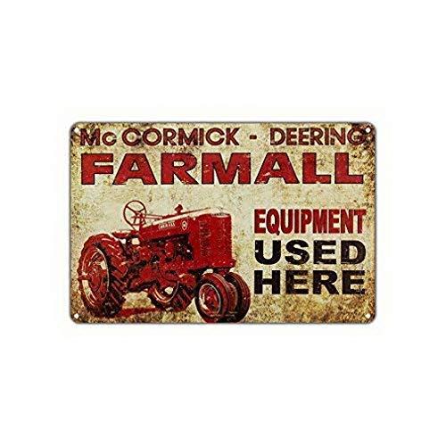 Mc Cormick Deering Farmall-utrustning som används här Vintage roliga metallskyltar Metall Tennväggskylt Plack Retro Wall Art 12x16 Gåvor Tecken