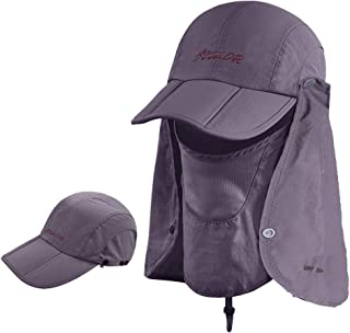 iColor 360° Protection Folding Sun Hat, Flap Hats Man Women UPF 50+ Cycling Sun Cap, Removable Neck & Face Flap Cover Caps for Baseball, Hiking, Fishing Outdoor Camping Activities-Dark Gray