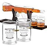 Murrano Caraffa per Whisky in Vetro a Forma di Fucile - Incisione Personalizzata - Decanter in Vetro da 800 ml + 4 Bicchieri da 300 ml - Set Bicchieri Whisky - Idea Regalo per Lui - intenditore